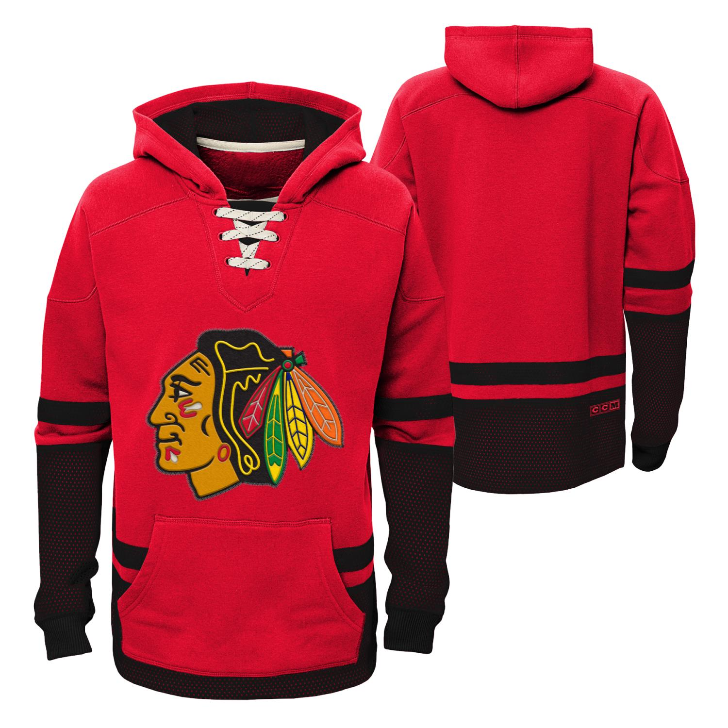 "Chicago Blackhawks CCM NHL ""Hit the Boards"" Youth Vintage Jersey Sweatshirt"